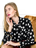 Womens Black/White Dots The Bow Tie Shirt