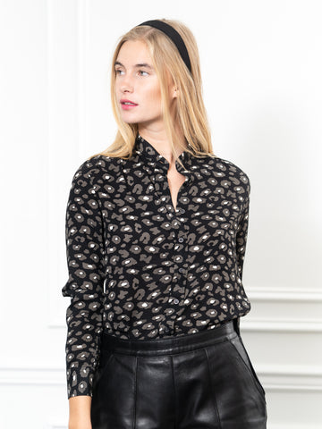 Womens Black/White Leopard The Signature Shirt in Black/White Leopard