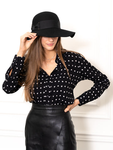 Womens Black/White The Signature Shirt in Black w/ White Dots