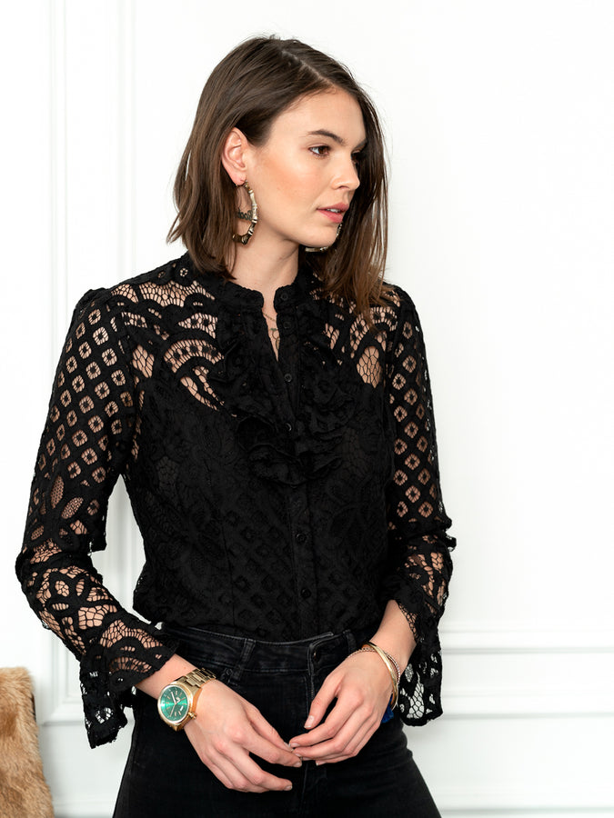Womens Black The Lace Shirt