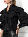 Womens Black The Black Tiered Sleeve Shirt 2