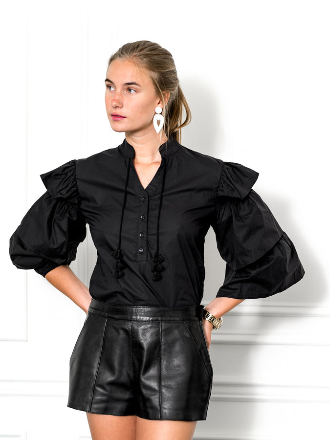 Womens Black The Black Tiered Sleeve Shirt