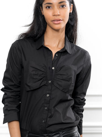 Womens Black The Bow Front Shirt