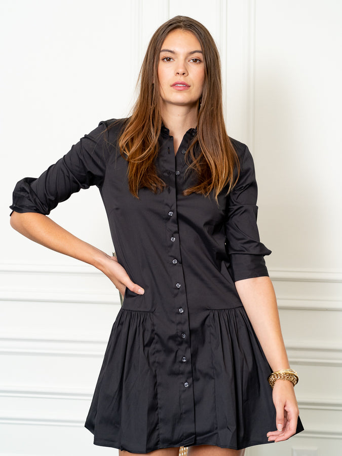 Womens Black The Drop Waist Shirt Dress