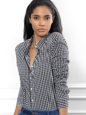 Womens Black The Icon Shirt in Large Check