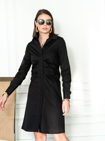 Womens Black The Ruched Shirtdress