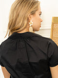 Womens Black The Short Sleeve Shirt with Loose Back 4