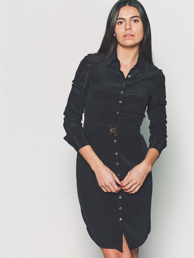 Womens Black The Signature Shirtdress in Black
