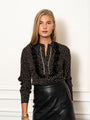 Womens Black The Black Chiffon Shirt w/ Feathered Trim