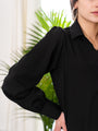 Womens Black The Puffed Sleeve Signature Shirt 2