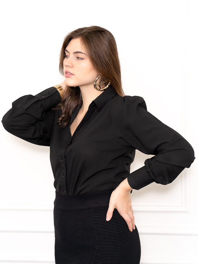 Womens Black The Puffed Sleeve Signature Shirt