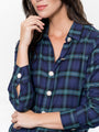 Womens Blackwatch Plaid The Icon Shirt w/ Crystal Buttons 2