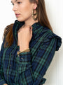Womens Blackwatch Plaid The Ruffle Collar Shirt 2
