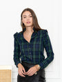 Womens Blackwatch Plaid The Ruffle Collar Shirt