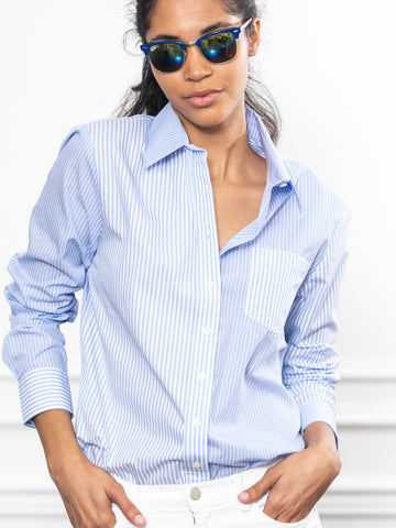 Womens Blue/Blue Multi Stripe The Boyfriend Shirt