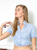 Womens Blue/Blue Stripe THE SHORT SLEEVE SHIRT WITH LOOSE BACK 4