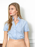 Womens Blue/Blue Stripe THE SHORT SLEEVE SHIRT WITH LOOSE BACK 6