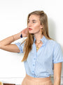 Womens Blue/Blue Stripe THE SHORT SLEEVE SHIRT WITH LOOSE BACK