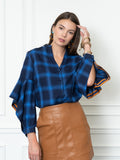 Womens Blue Check  The Flounced Arm Shirt 2