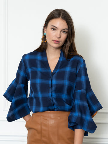 Womens Blue Check  The Flounced Arm Shirt