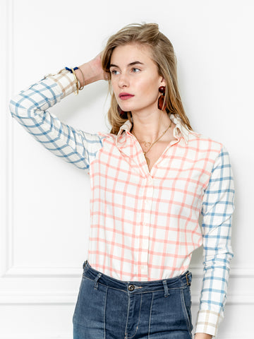 Womens Blue/Cream/Blush The Icon Shirt in Plaid Flannel