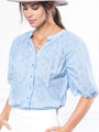 Womens Blue Eyelet THE ANTOINETTE SHIRT