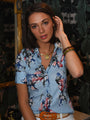Womens Blue Multi Print The Short Sleeve Signature Shirt in Blue Tropical 2