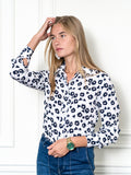 Womens Blue Multi The Signature Shirt in Blue Floral with Blue Piping
