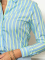 Womens Blue/Neon Stripe The Icon Shirt in Blue/Neon Stripe 2