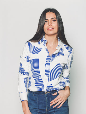 Womens Blue Paintbrush The Signature Shirt in Blue Paintbrush