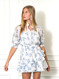 Womens Blue Palm The Tiered Minidress