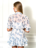 Womens Blue Palm The Tiered Minidress 4