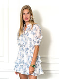 Womens Blue Palm The Tiered Minidress 6