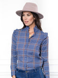 Womens Blue/Pink The Ruffle Collar Shirt 4