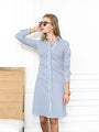 Womens Blue Stripe The Ruched Shirtdress