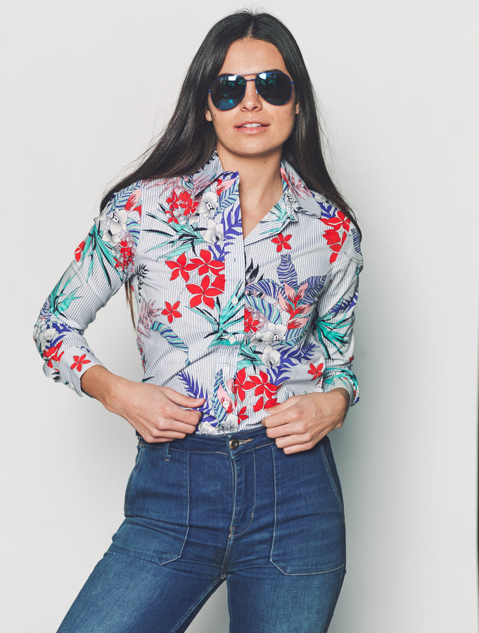Womens Blue Stripe w/ Floral The Icon Shirt in Blue Stripe w/ Floral