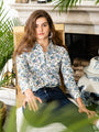 Womens Blue/White/Green Floral The Icon Shirt in Floral 2