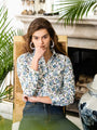 Womens Blue/White/Green Floral The Icon Shirt in Floral
