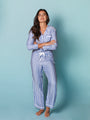 Womens Blue/White Stripe The Long Sleeve Pajama Set 2