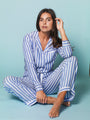 Womens Blue/White Stripe The Long Sleeve Pajama Set