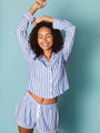 Womens Blue/White Stripe The Long Sleeve Pajama w/ Shorts Set 2