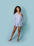 Womens Blue/White Stripe The Long Sleeve Pajama w/ Shorts Set 7