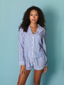 Womens Blue/White Stripe The Long Sleeve Pajama w/ Shorts Set