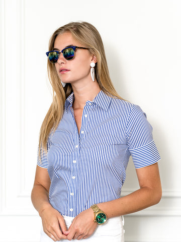 Womens Blue/White Stripe The Short Sleeve Shirt