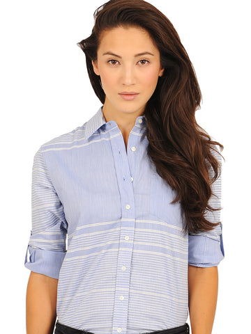 Womens Blue/White The Chambray Shirt
