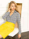 Womens Blue/Yellow Houndstooth The Signature Shirt