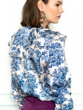Womens Blue The Toile Ruffled Shirt 4