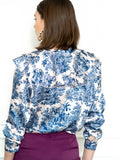 Womens Blue The Toile Ruffled Shirt 6