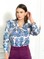 Womens Blue The Toile Ruffled Shirt