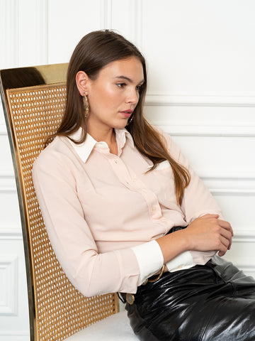 Womens Blush/Cream The Signature Shirt with Contrasting Trim
